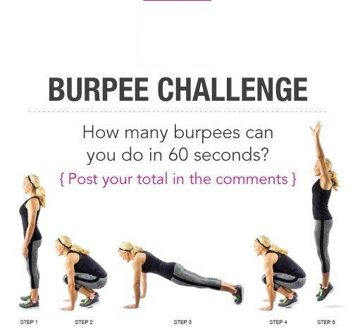 Day 4: The Burpee Challenge  Try out this burpee challenge. It'll be sure to make you feel like you've really worked everything out!