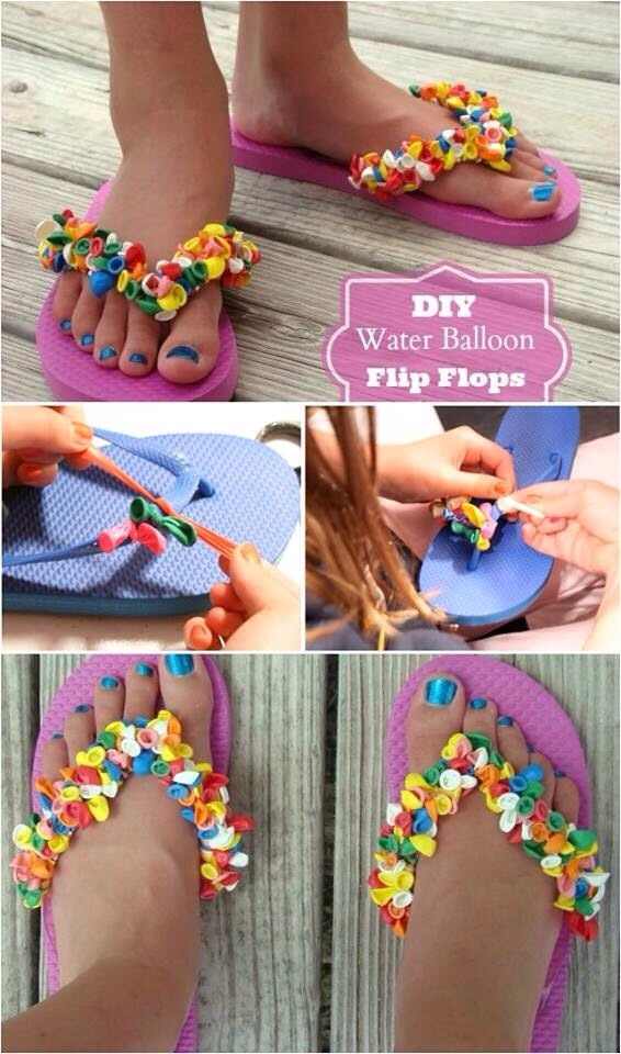 Box of smallest balloons from dollar store + cheap flip flops yay u got the cutest sandals ever