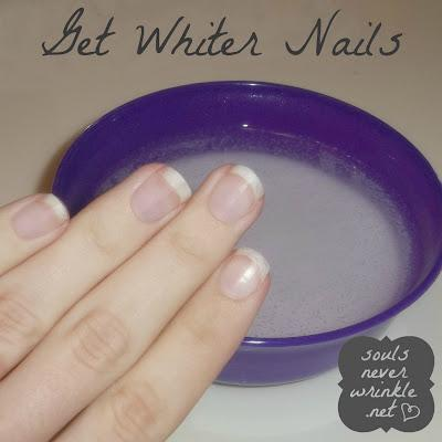 9. Whiten your nails after removing a dark polish.  Soak your nails in a solution of hot water, hydrogen peroxide, and baking soda for about a minute. Or you could also put some whitening toothpaste on a toothbrush and scrub the stains off your nail.