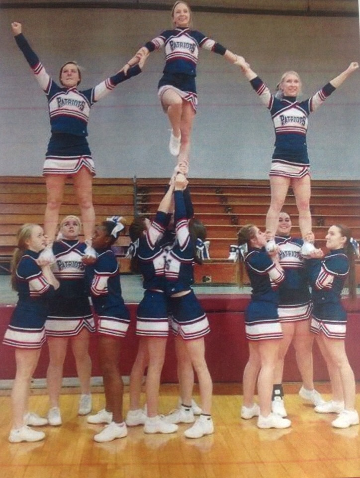 This is my cheer squad last year 🎀 We did this on our first try :) I'm the main base or first base in the middle stunt group doing the lib !