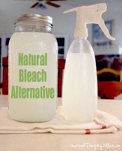 How To Make A Natural Bleach Alternative for Laundry and Cleaning recipe: 12 cups water 1/4 cup lemon juice 1 cup hydrogen peroxide. Please don't forget to like!  Thanks for looking.