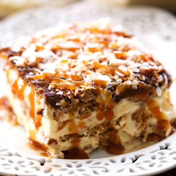 http://www.chef-in-training.com/2015/06/no-bake-samoa-eclair-cake/