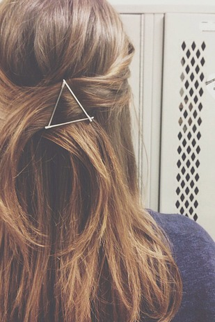 Use your bobby pins as graphic hair accessories. Please tap for full view.