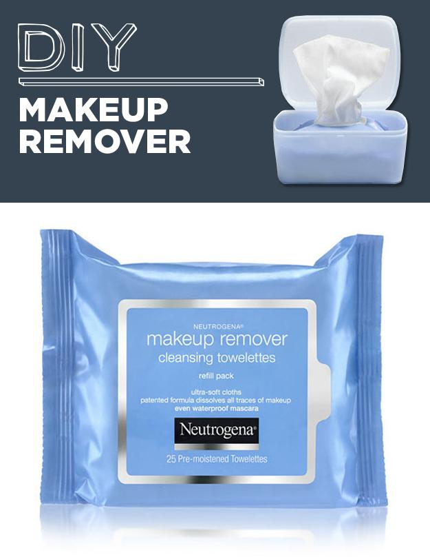 6. DIY Makeup Removing Wipes It basically involves cutting a roll of paper towels in half, placing in container& soaking with 4c. warm water &desired mixture (including coconut oil) use tree tea oil to inhibit the growth of mold