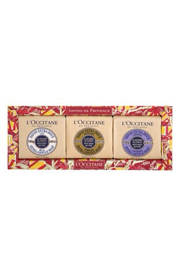 L'Occitane Deluxe Soap Set  My Mother in-law always gets a L'Occitane goodie from me in her stocking. You can't go wrong with this adorable soap trio. They are  the perfect addition for any guest bathroom.    Get it at Nordstrom $19
