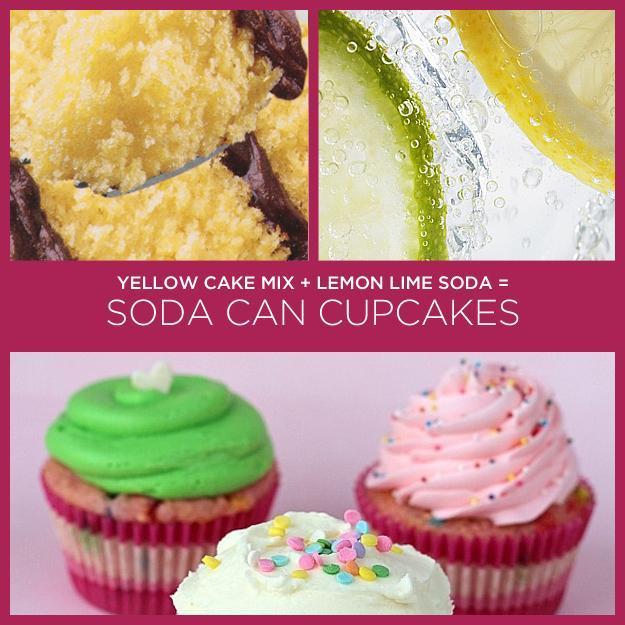 Yellow Cake Mix + Lemon Lime Soda = Soda Can Cupcakes