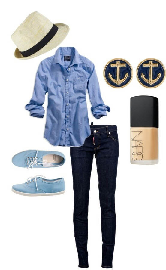 A cute vintage hat with a blue shirt and shoes some anchor earrings and tan nailpolish really simple you don't event have to wear like the earrings