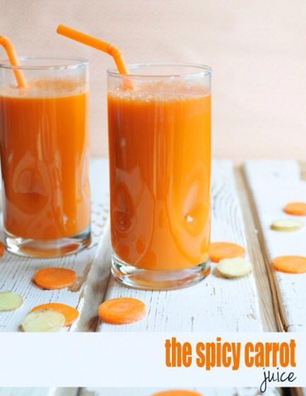 Spicy Carrot Juice  Thanks to a bit of ginger, his carrot and cauliflower based juice has some zip and is great for lunch and dinner!