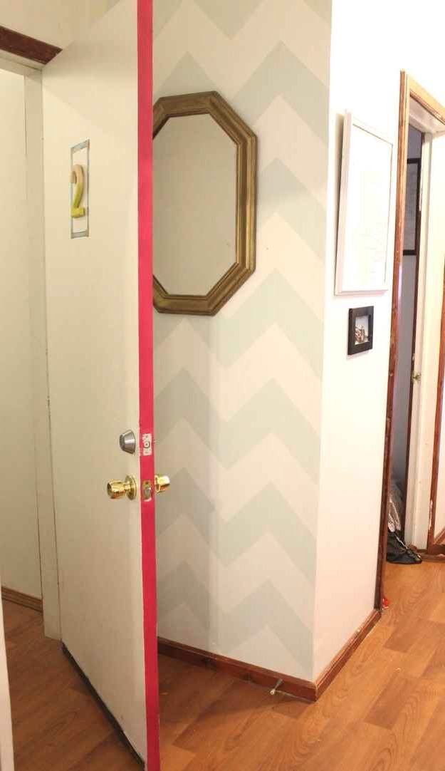 For a beam of color paint the edge of a doorway for. Simple pop.