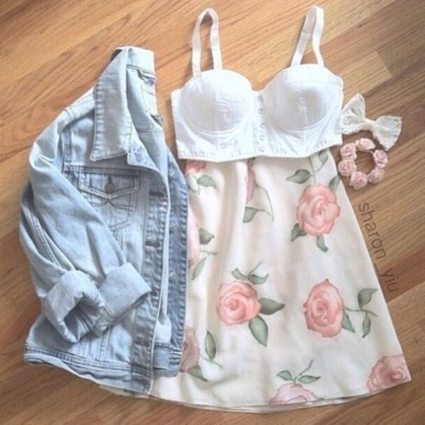 Average teenage girl outfit but very cute with the floral thing going on
