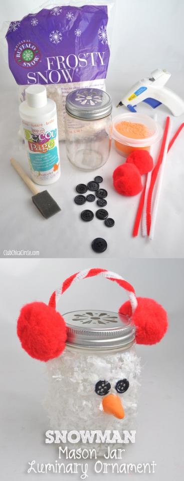 YOU WILL NEED: a bag of Frosty Snow®, which is a fluffy plastic material made to emulate snow for crafting with.  some mason jars,  large red pom poms,  red and white pipe cleaners, black buttons,  and some orange air dry clay.