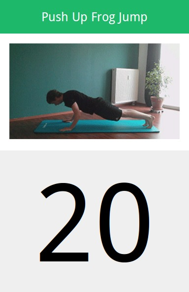 The app 20 minute workout is amazing! You pick how much time you have and it creates a workout that long. Not only that but there is a demo going to show you how to do the workout. The app icon is a blue 20.
