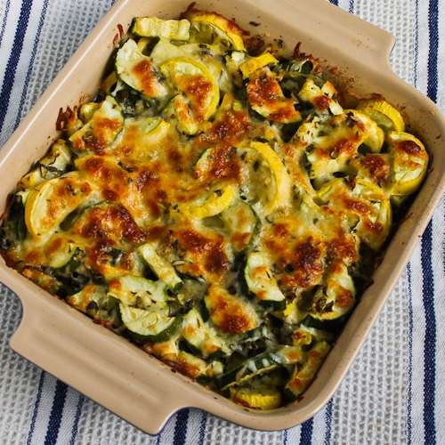 After a slight burn on everything, put the mushrooms, zucchini and squash into a casserole pan. Place aluminum foil over the top and put in the oven for an hour until it looks crisp. Then, serve!