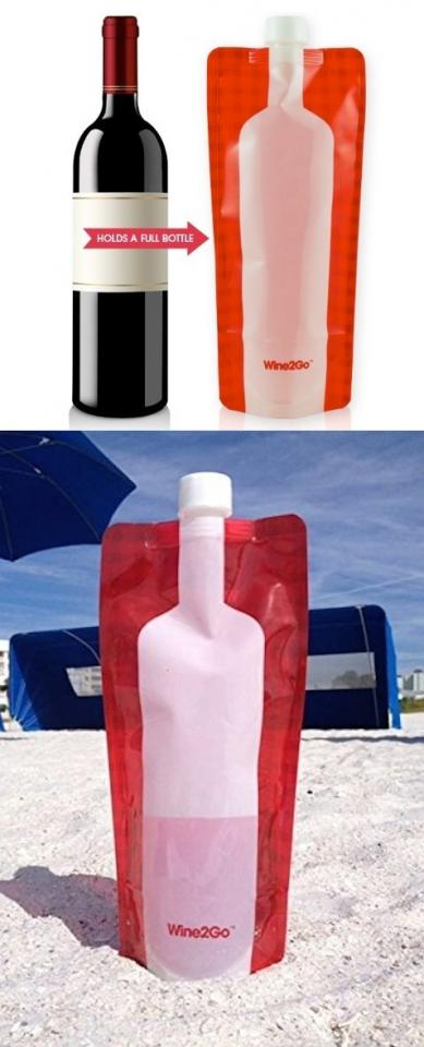 11. Wine2Go  This is obviously the most amazing invention since the light bulb. This can be a game changer– tailgating, camping, concerts, tubing, picnics, etc. It fits an entire bottle of wine, but works for other drinks, too. Pick up a few here -- http://www.amazon.com/gp/product/B00K9UTEJO/