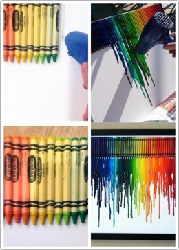 Glue crayons in any way you want I prefer rainbow ⁉️📳😶🐸➿♌️ Red orange yellow green blue purple melt the crayons have news paper it something under and DONZO ! 💎💎💎