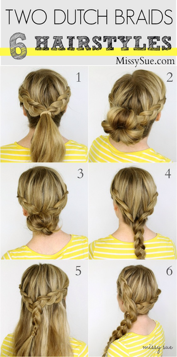 (double click to view full image!) Two Dutch Braids – 6 Hairstyles features unique ways to style two side Dutch braids.