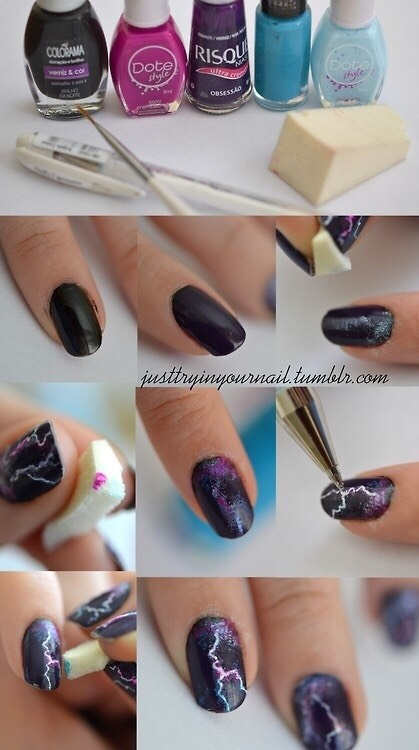 * Paint a cool, dark gradient onto your nail, and then scrape it off in a thin line with a toothpick, pen, or sewing pin for a super awesome lightening affect.