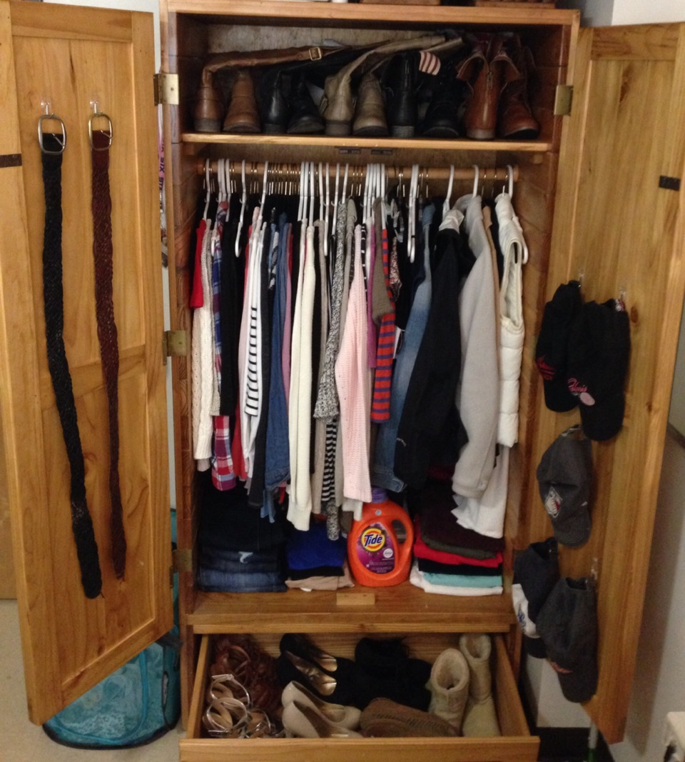 Use all of the space you have because you don't have a lot. Command hooks allow you to use the space on the back of the doors increasing the amount of items you put in your closet!