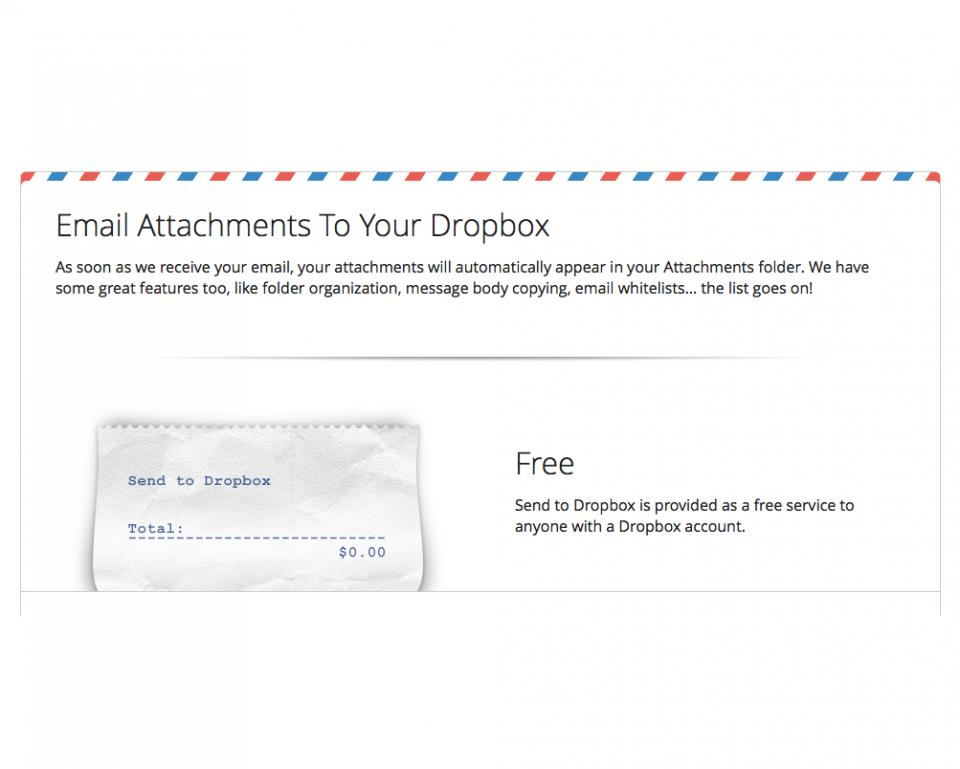 This is an awesome dropbox integration. Forward attachments from email, or even give your address to others to send directly into your dropbox. Very cool!