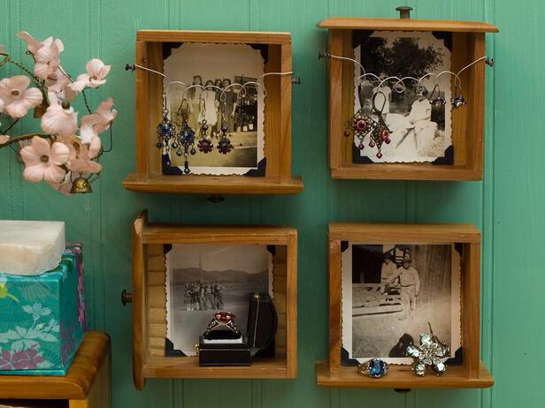In an Hour: Turn Drawers Into Shelves Create art that doubles as storage and art. Find a mini dresser and a few old black-and-white snapshots. Mount the drawers on the wall and tack a picture in each one using photo corners. Use the drawers as shelves, or hang earrings from loop piece wire