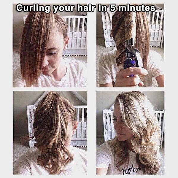 Step one: tie your hair in a pony tail towards the top of your head.  Step two: curl the hair in the pony tail  Step three: take your ponytail out and enjoy your curls!
