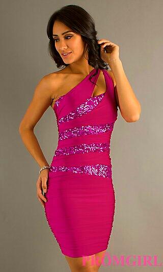Cranberry Asymmetrical w/ Purple Sequins