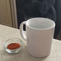 Add 1/2 teaspoon of cayenne pepper to 1 cup of boiling water; stir well and gargle while mixture is still very warm. This brings more circulation to the area and helps draw away the infection.