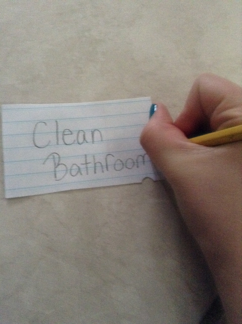 On one side write a chore