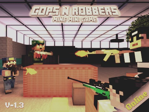 6) Cops N Robbers This game is a fps game that is minecraft like. The game could improve by putting more game modes and stuff like that. There are about 6 weapons which are RPG, Desert eagle, shotgun, sniper, m4, ax-47 grenades and a knife. I enjoy the game a lot.  My Rating: 8/10