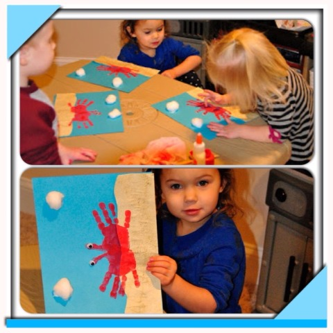 The littles LOVE to finger paint, and I LOVE crafts using handprints, footprints, or anything to remember their tini-ness. This handprint crab craft was a 'win-win'
