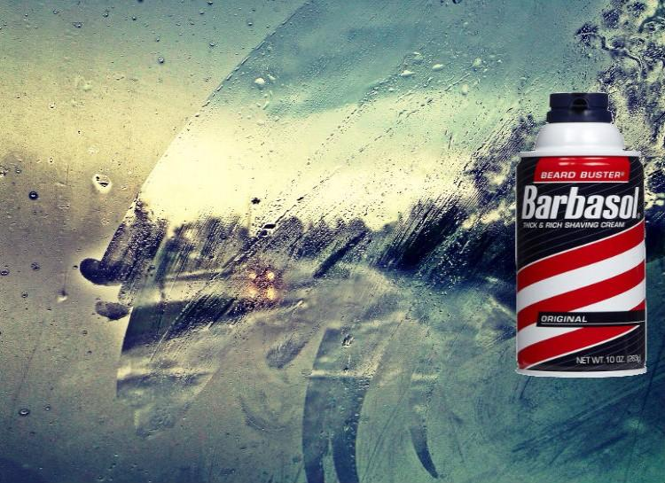 Fog-Proof Your Windshield This one is simple- put shaving cream on the inside of your windows and then wipe it off! Shaving cream has a lot of the same ingredients that commercial defoggers have, and it leaves a layer on the window to keep the fog off.
