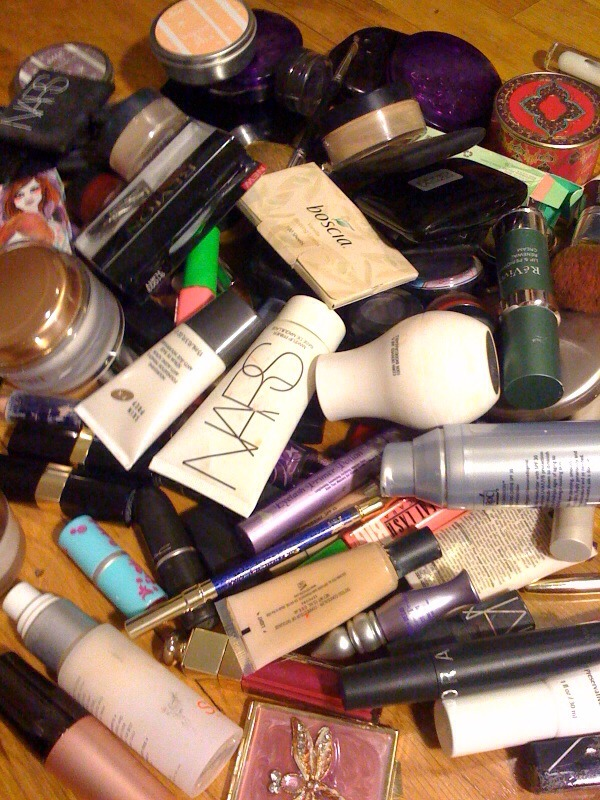 Cosmetics  Keep items you use daily and weekly and toss expired and experimental make-up and creams. A dramatic or new evening make-up look can be had from a demo at the MAC counter. All the clear space under your sink will inspire you to just buy what you use.