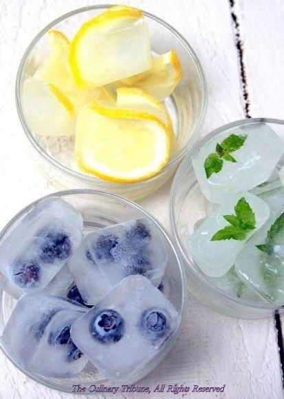 Put your favorite fruits or mint leaves in ice cubes and put in summer beverages, like tea and juices.  Please like and share!