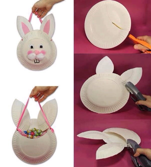 Rabbit piñata.  Two paper plates attached.  Create your own artistic design on front.  Fill with sweets.  Attach a string.  Give it a good whack to empty. X  Enjoy