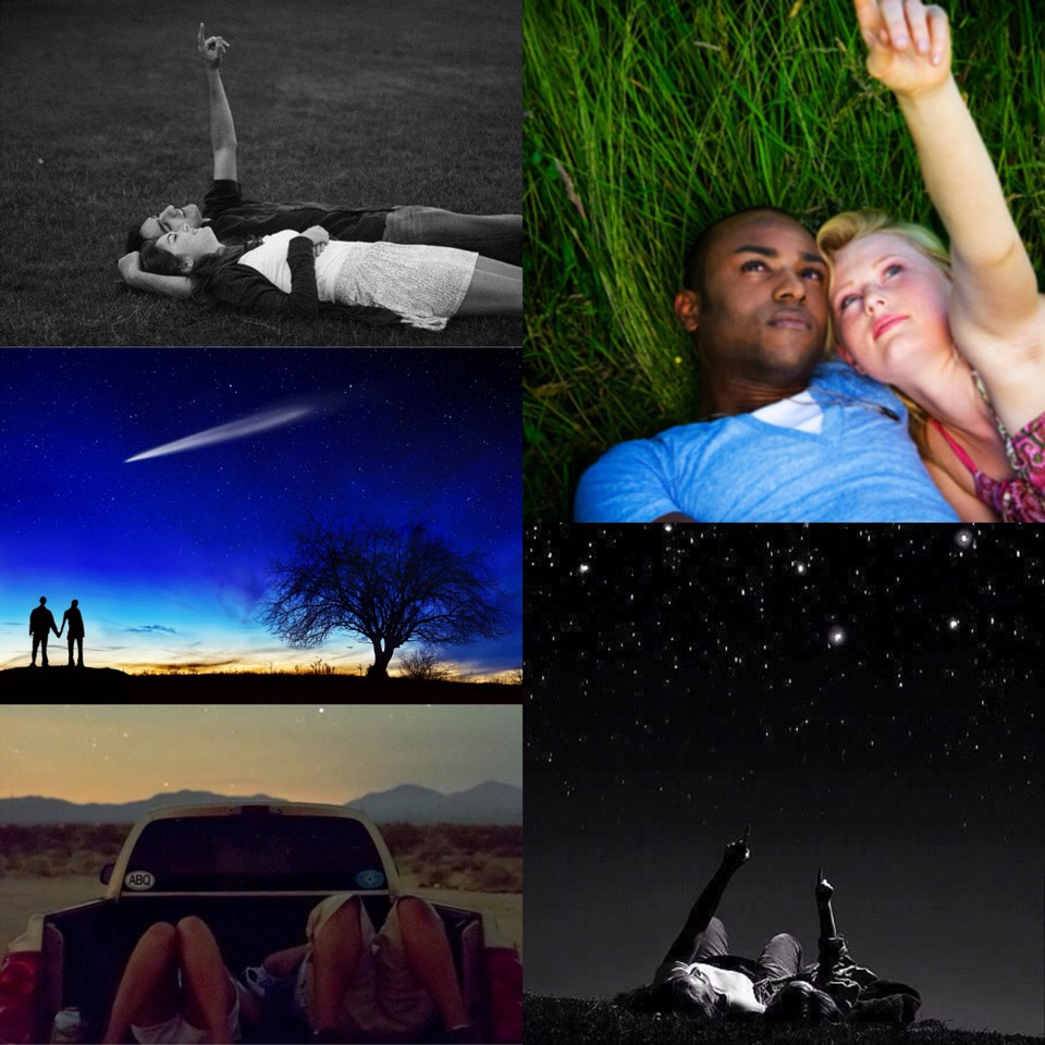 5. star gazing. perfect date to lay down under the stars with your other half and point at the brightest star. tip: compliment your partner with every star you see in the sky🌟it'll make the night quite interesting😘