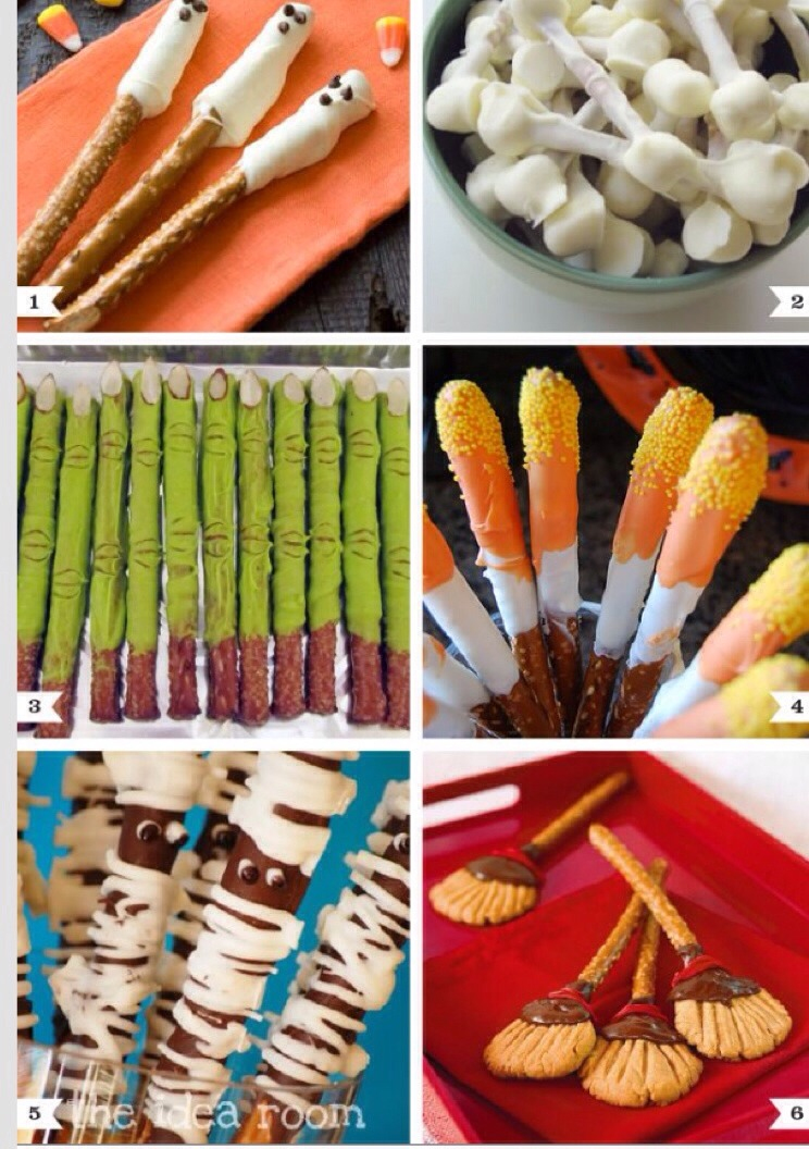 All made from pretzel rods, dipped in chocolate. Melt chocolate and add food coloring too.