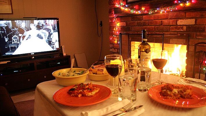 2. Romantic fireside dinner