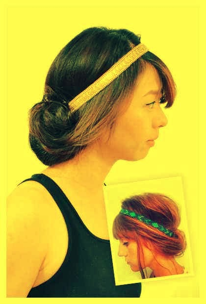 6. Roll your hair up into an elastic hairband.