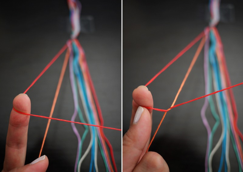 Tie a knot in the shape of a 4 over the second color.