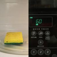 To sanitize your kitchen sponges: Microwave wet kitchen sponge on high for 60 seconds to kill germs. (Use caution when handling until cool).