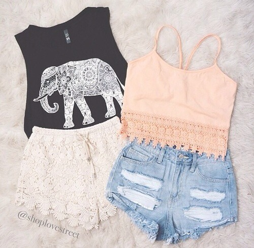 This is cute outfits for a very very hot day.