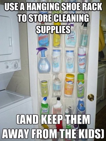 To store cleaning supplies and keep then away from the kids