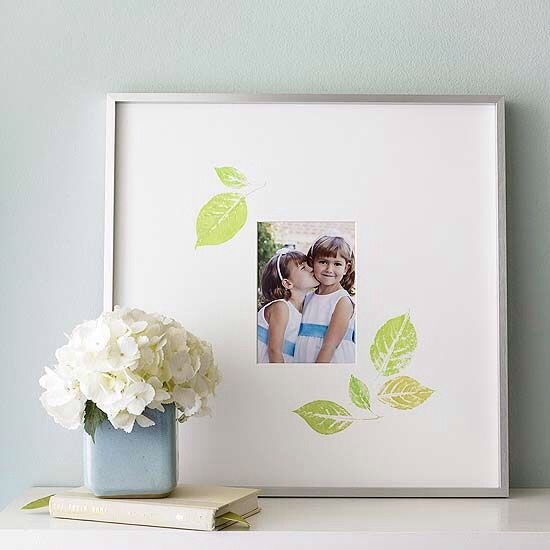 Easily dress up a picture frame with stamps on the matte board. The leaves are so pretty.