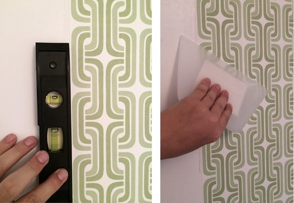 Once your paper is up, you only have about 10 minutes until it dries, so make adjustments right away! Slowly and carefully push any air bubbles towards the borders.