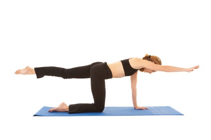 BIRD-DOG: Start on all fours and slowly with control, reach your arm out straight along with the opposite leg (keeping the back straight and squeezing the butt). Hold for 2 seconds and bring that elbow and knee under you, touching them into a crunch. Switch and repeat, 10 on each side (20 total).