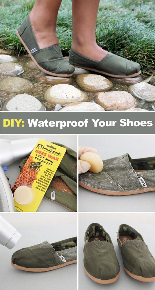 14. Waterproof Your Shoes Here is a simple trick using beeswax that will waterproof your shoes. Now you can wear them even on a rainy day!