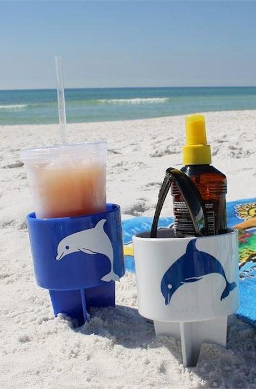 5. Spiked Drink Holders If you're a beach bum, these spiked drink holders are a must-have! Simply poke them into the sand to hold your drinks and other items to keep the sand off. They come in a pack of 6 for about $35– not bad! http://www.amazon.com/gp/product/B00KZZQKAE/