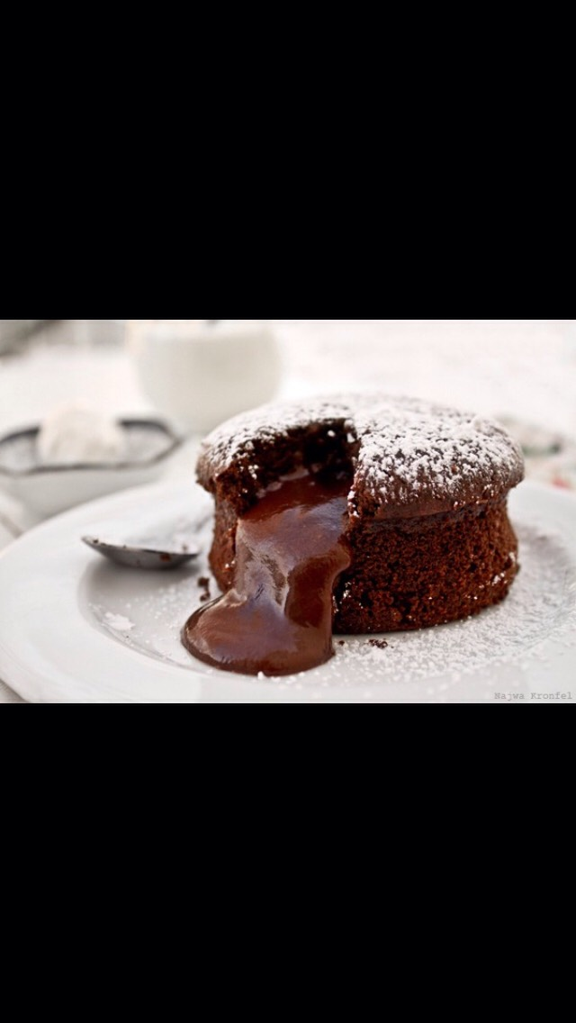 Ingredients: •8oz Bittersweet Chocolate •8tblsp Butter (1stick) + more for ramekins •3Eggs •1/2 Cup Granulated Sugar  •1/2 Cup Flour •1tsp vanilla