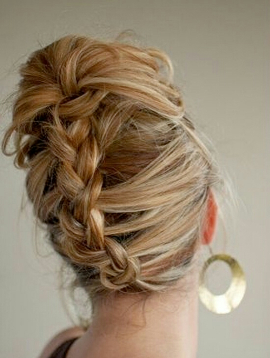 Reverse braided updo