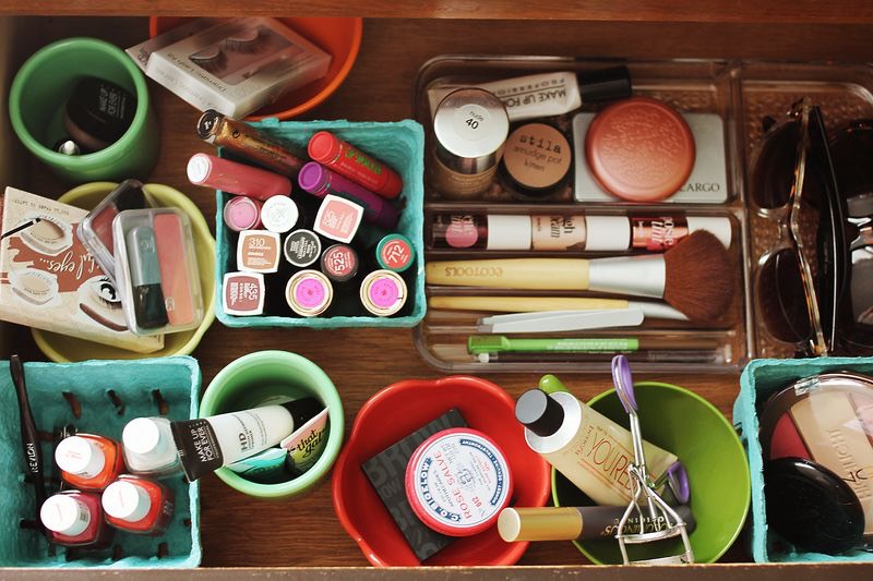 Your makeup is probably scattered all over your desk right now. Buy some cute and cheap containers (you can label them if you want to) and start organizing your brushes, chapsticks/lipsticks, or mascara, etc.